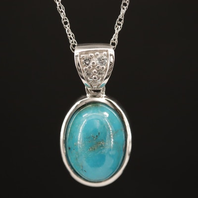 Sterling Silver Topaz and Turquoise Pendant Necklace