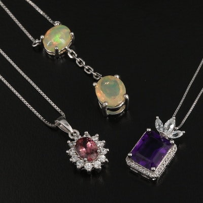 Sterling Opal, Amethyst and Zircon Necklaces Including 14K
