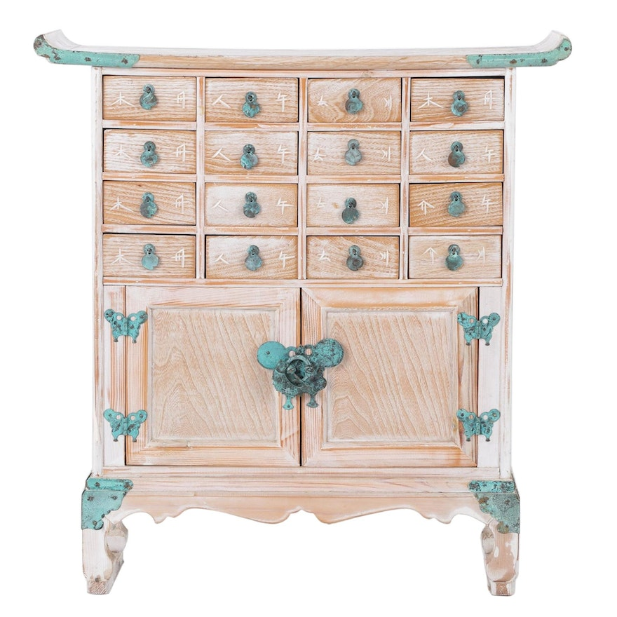 Asian Inspired Painted Multi-Drawer Cabinet