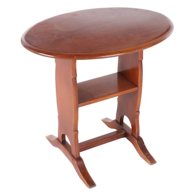 Cherry Finish Trestle Side Table, Late 20th Century
