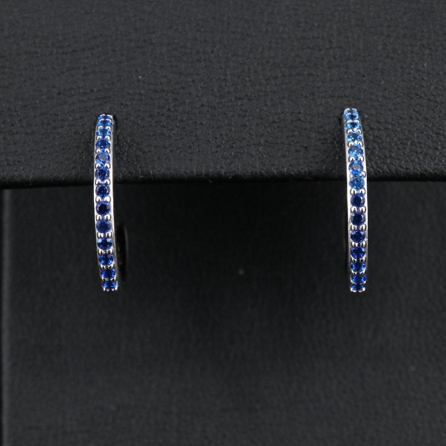 Sterling Silver Spinel Hoop Earrings