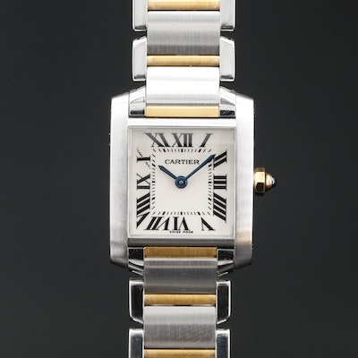 Cartier Tank Française 18K and Stainless Steel Quartz Wristwatch