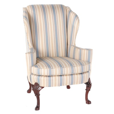Sherrill Queen Anne Style Upholstered Wing Back Arm Chair, Late 20th Century
