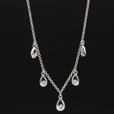 10K Diamond Station Necklace