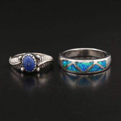 Sterling Opal Band and Lapis Lazuli Ring with Applique Work