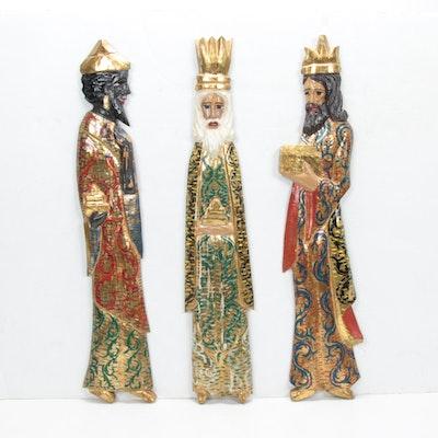 Folk Art Hand Carved, Painted Three Magi of Christmas Wall Hangings, Vintage