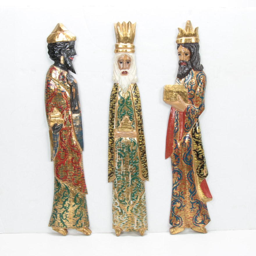 Folk Art Hand Carved, Painted Three Magi of Christmas Wall Hangings, Vintage