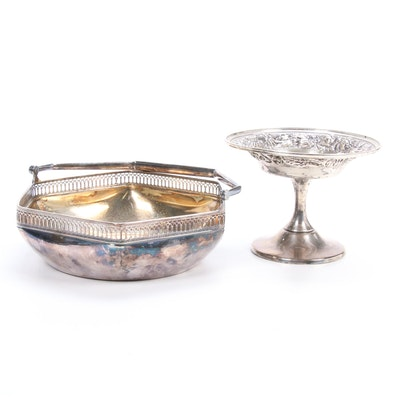 "Stieff ""Stieff Rose"" Sterling Compote with Wilhelm Binder 800 Silver Basket"