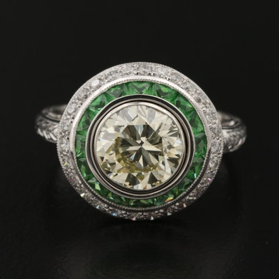 Platinum 2.42 CTW Diamond and Tsavorite Ring