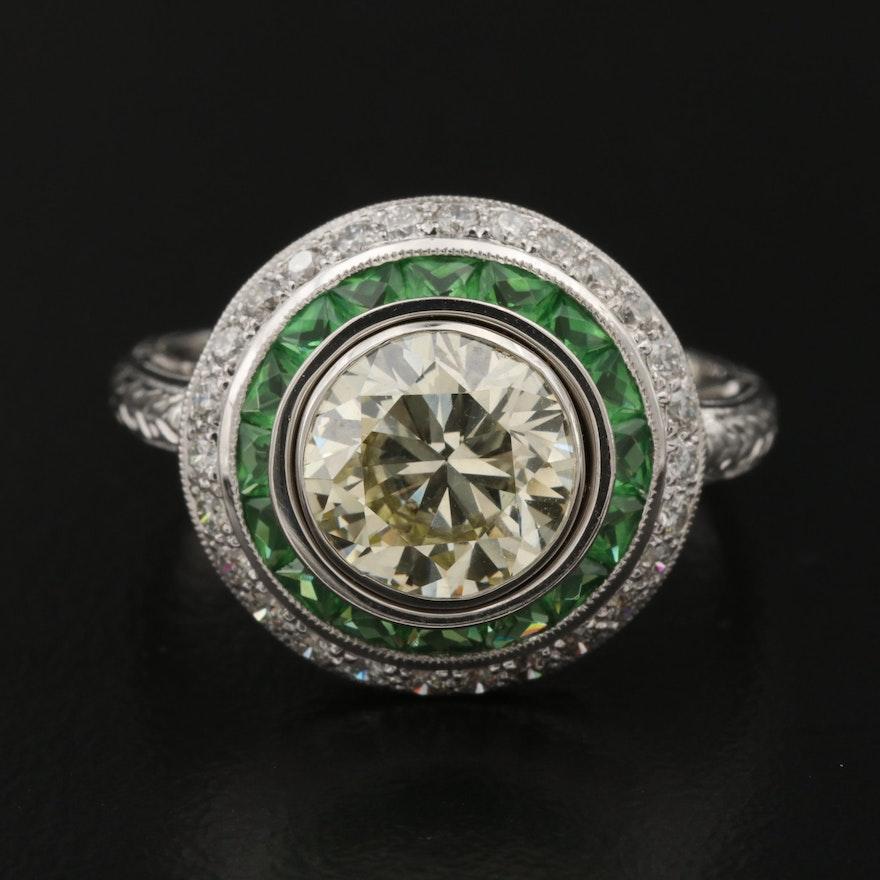 Platinum 2.42 CTW Diamond and Tsavorite Ring