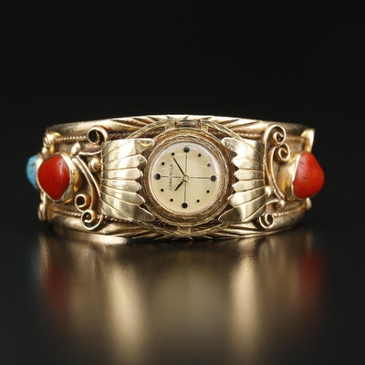 14K Gold Coral and Turquoise Bracelet with Stem Wind Caravelle Watch