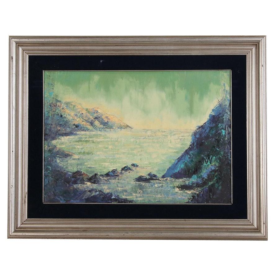 Coastal Landscape Oil Painting, Mid-Late 20th Century