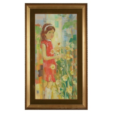 Kurt Polter Oil Painting of Child with Flowers, Mid-Late 20th Century