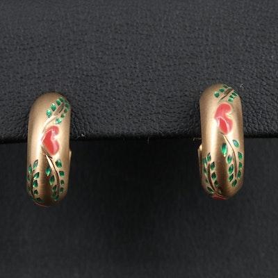 10K Hoop Earrings with Heart and Leaf Detail