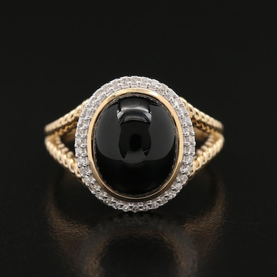 14K Black Onyx and Diamond Ring with Twisted Rope Shoulders