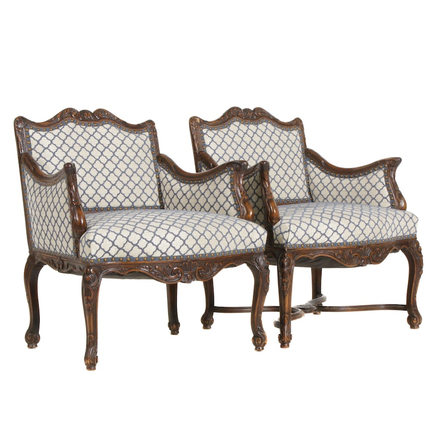 Pair of French Provincial Style Armchairs, Mid-20th Century