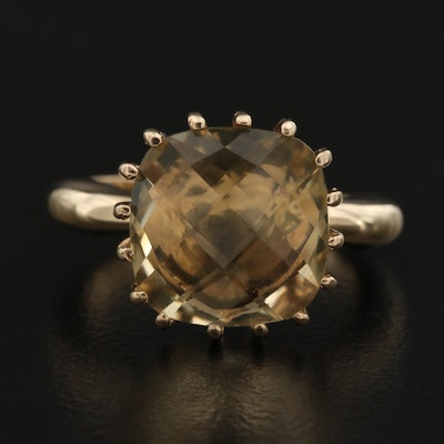 14K Citrine Multi-Prong Solitaire Ring