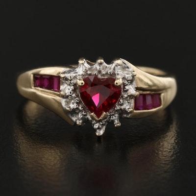 10K Ruby Heart Cut Ring