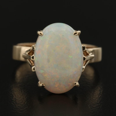 9K Oval Opal Cabochon Solitaire Ring