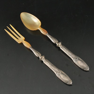 Sterling Silver and Horn Serving Spoon and Fork, Early 20th Century