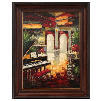 Allan Wordsworth Acrylic Painting of Interior Scene, 2006