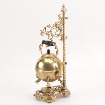 Hanging Brass Teapot with Warmer
