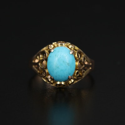 14K Turquoise Cabochon Ring with Scrollwork