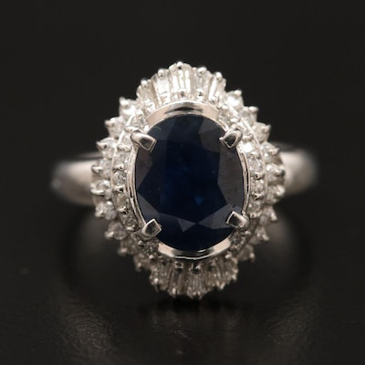 Platinum Sapphire and Diamond Ballerina Ring