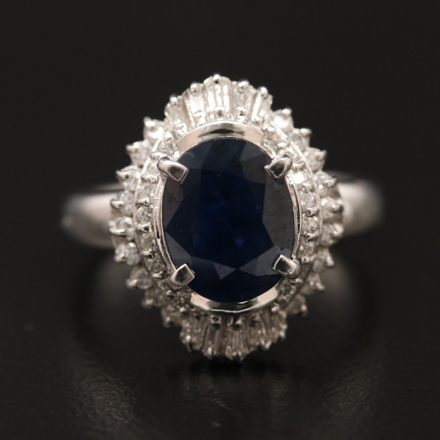 Platinum Sapphire and Diamond Ballerina Ring