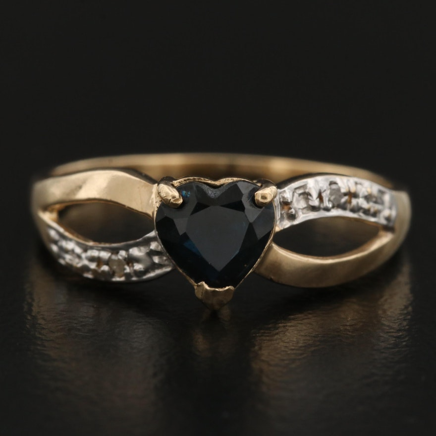 10K Sapphire and Diamond Heart Ring