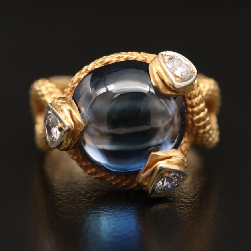 14K Sapphire and Diamond Snake Ring