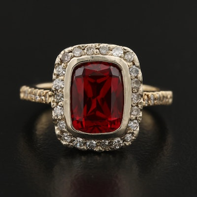 14K Bezel Set Ruby Ring with Diamond Halo