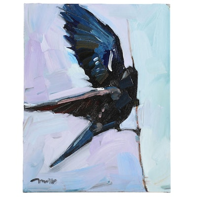 "Jose Trujillo Oil Painting ""Black Bird"", 2020"