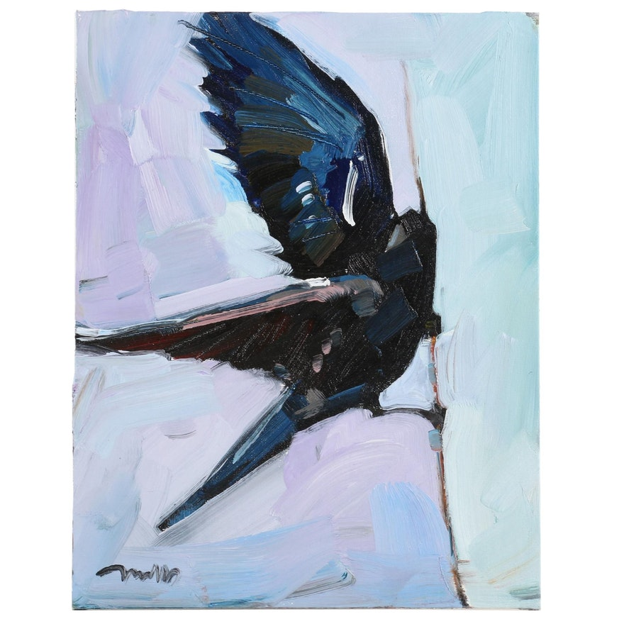 "Jose Trujillo Oil Painting ""Black Bird"", 2020"