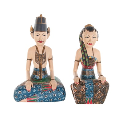 "Indonesian Loro Blonyo ""Inseparable Couple"" Polychrome Wedding Pair"