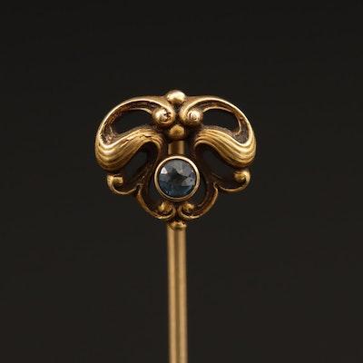 Art Nouveau 14K Sapphire Stick Pin