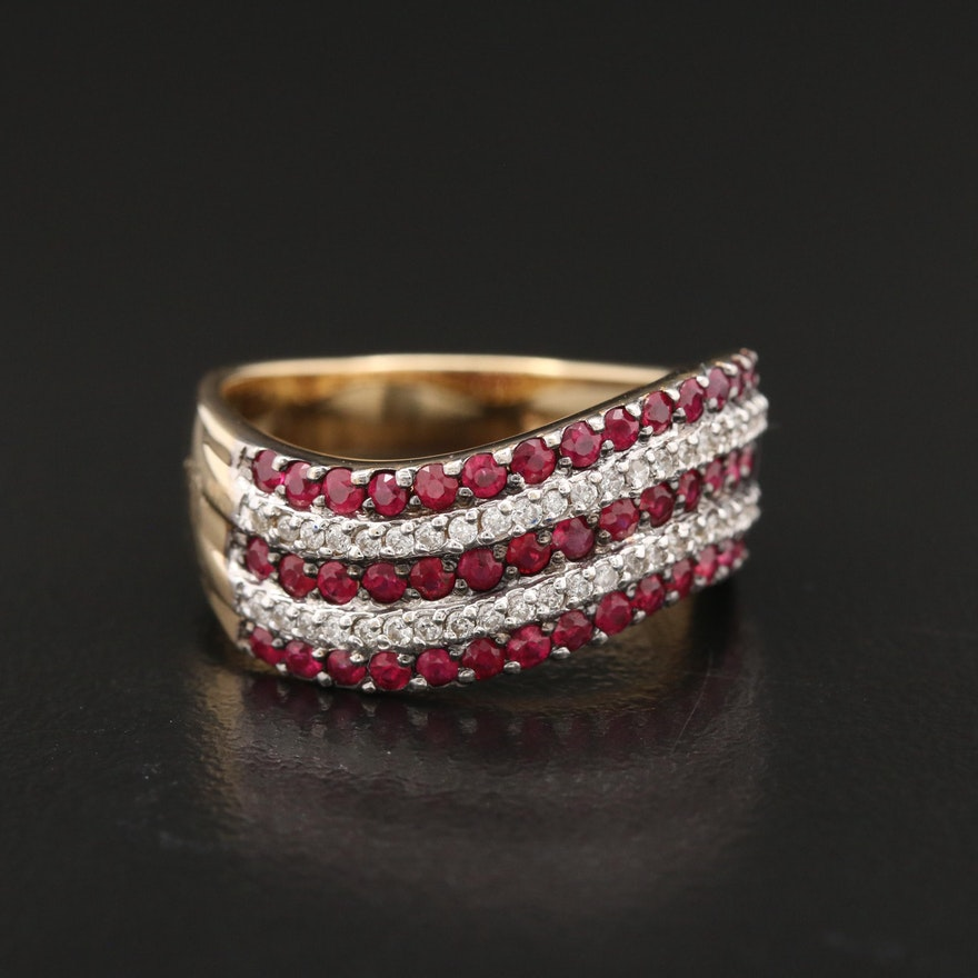 14K Ruby and Diamond Wave Band