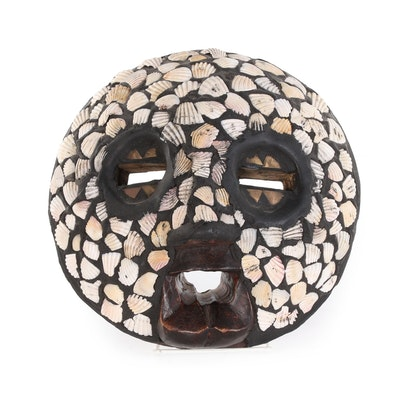 Ghanian Wooden Mask with Shell Inlay