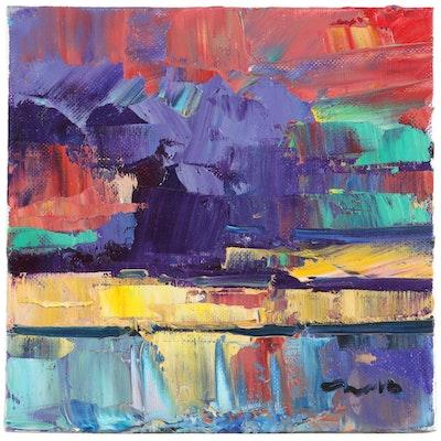 """Jose Trujillo Oil Painting """"Sunset Sea"""", 2020"""