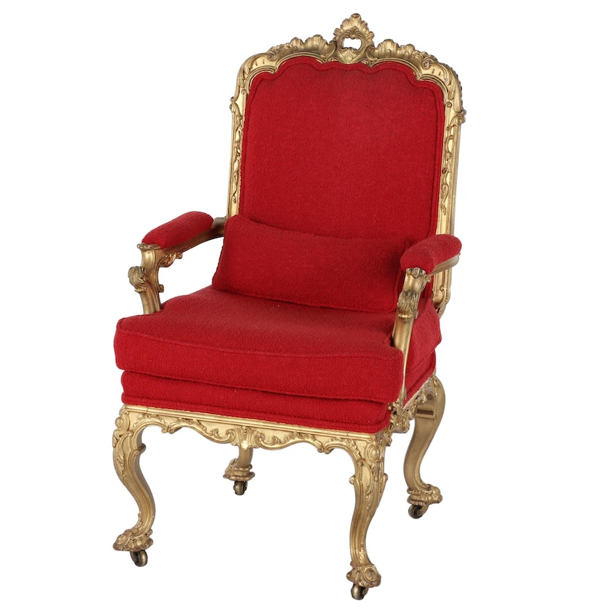 Constantine & Co. Early Victorian Giltwood Upholstered Armchair