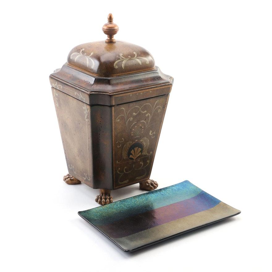 Kurt McVay Modernist Art Glass Tray and Claw Foot Distressed Pecan Storage Box