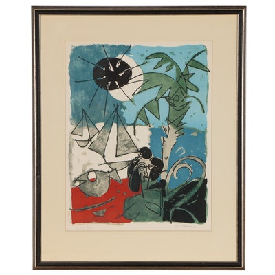 "Claude Venard Color Lithograph ""Cannes,"" Mid 20th Century"
