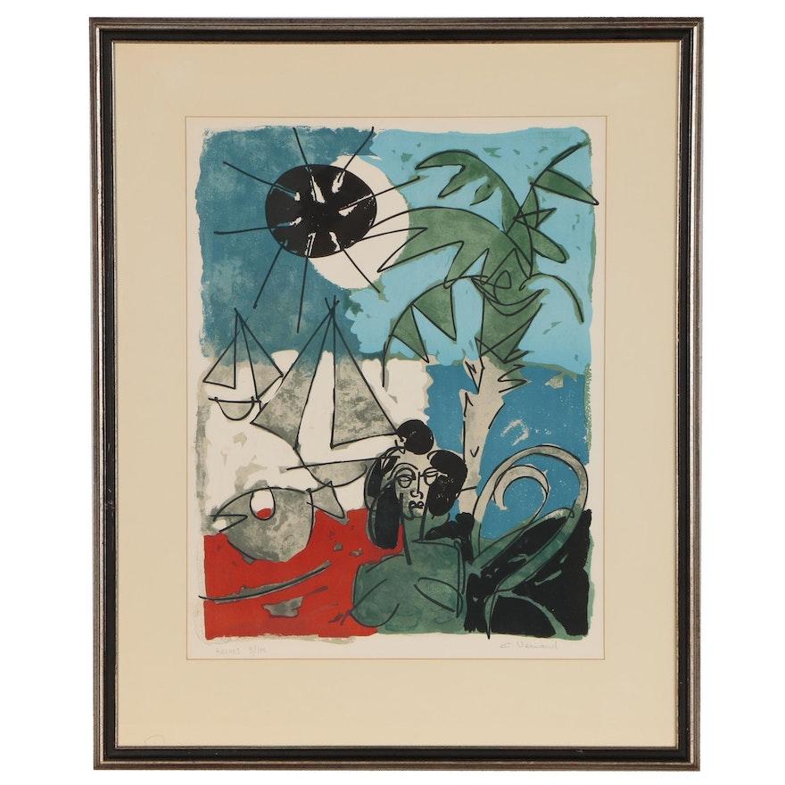 """Claude Venard Color Lithograph """"Cannes,"""" Mid 20th Century"""