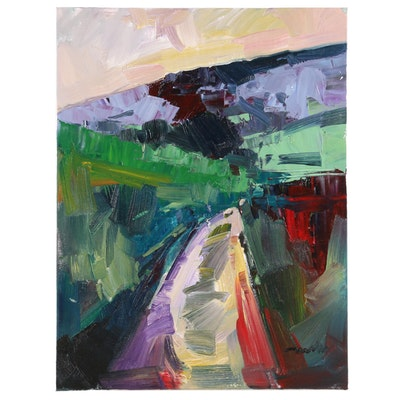 "Jose Trujillo Oil Painting ""The Road"", 2020"