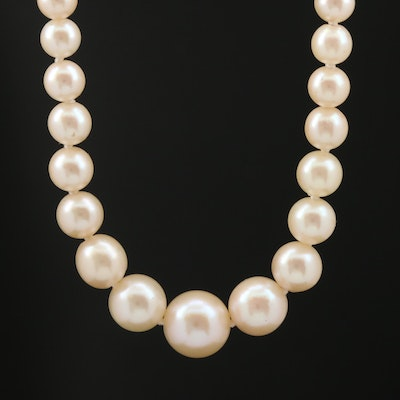 Vintage Graduated Pearl Necklace with Sterling Silver Clasp