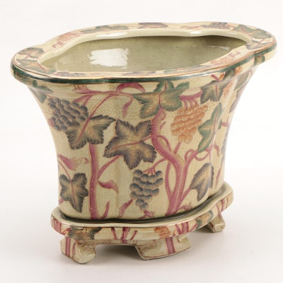 Oriental Accent Grapevine Ceramic Planter