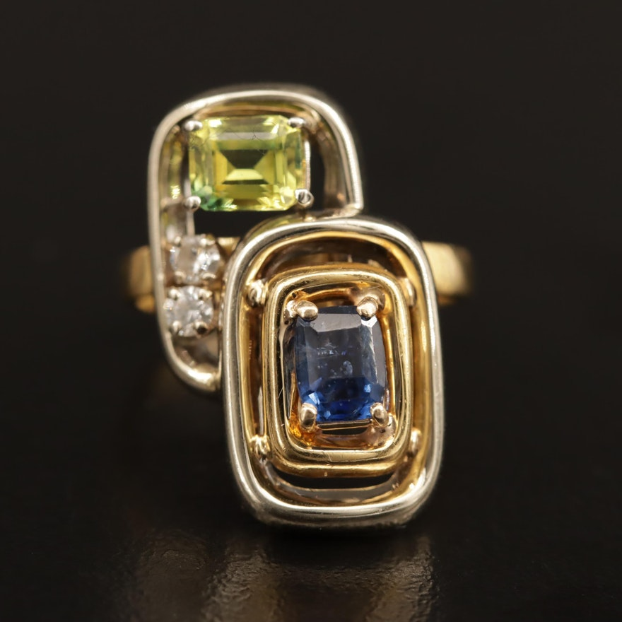 18K Oblong Yellow and Blue Sapphire Framed Ring with Diamond Accents