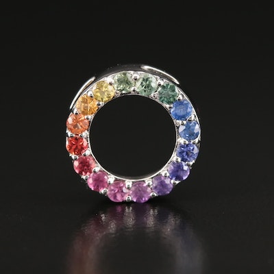 Sterling Multi-Color Sapphire Rainbow Circle Pendant
