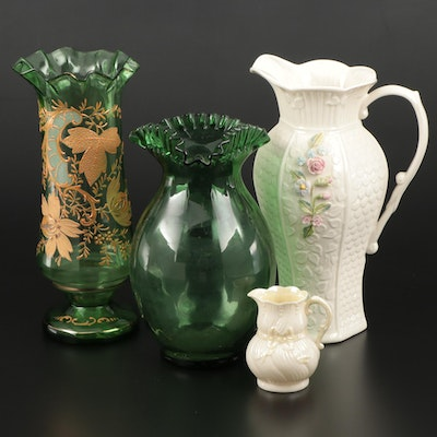 "Belleek ""Millennium"" Porcelain Pitcher, Hand Enameled Blown Glass Vase and More"