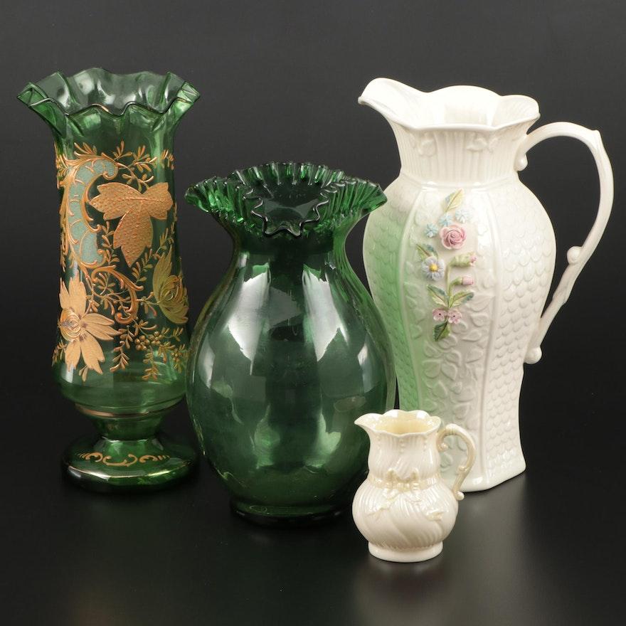 "Belleek ""Millennium"" Porcelain Pitcher, Hand Enameled Blown Glass Vase and More"
